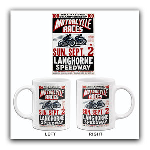 Langhorne Speedway Motorcycle Races - 1956 - Promotional Advertising Mug