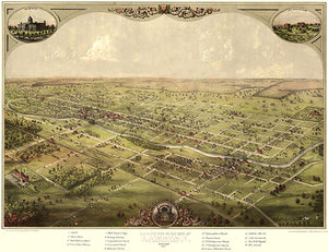 Lansing, Michigan - 1866 - Aerial Bird's Eye View Map Poster