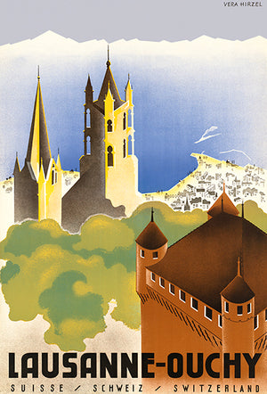 Lausanne-Ouchy, Switzerland - 1940's - Travel Poster Magnet