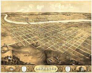 Lawrence, Kansas - 1869 - Aerial Bird's Eye View Map Poster