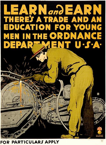 Learn & Earn - US Army - Man Welding - World War I - Recruitment Poster Mug