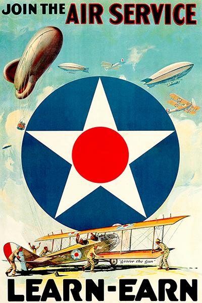 Learn & Earn - US Army Air Service - Curtiss JN-4 Aircraft - 1917 - WWI - Recruitment Poster Magnet