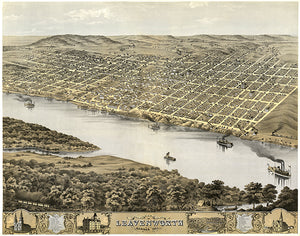 Leavenworth, Kansas - 1869 - Aerial Bird's Eye View Map Poster
