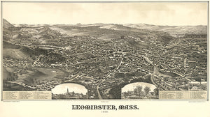 Leominster, Massachusetts - 1886 - Aerial Bird's Eye View Map Poster