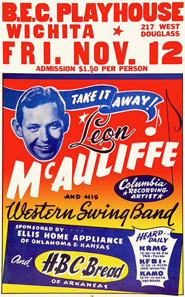 Leon Mc Auliffe & His Wetsern Swing Band - Wichita - 1954 - Concert Poster