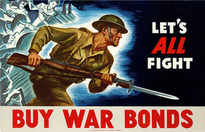 Let's All Fight - Buy War Bonds - 1942 - World War II - Propaganda Poster