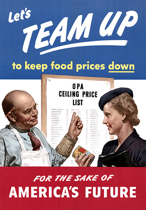 Let's Team Up - To Keep Food Prices Down - For The Sake Of America's Future - 1944 - World War II - Propaganda Mug