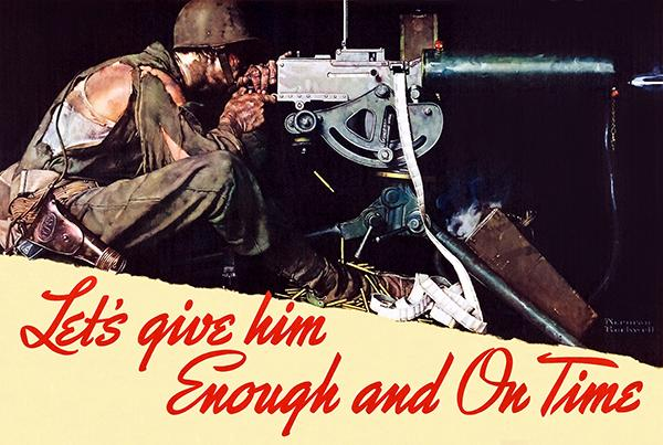 Let's Give Him Enough And On Time - 1942 - World War II - Propaganda Poster Mug