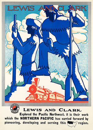 Lewis And Clark - Northern Pacific Railway - 1940's - Travel Poster Magnet