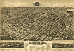 Lincoln, Nebraska - 1889 - Aerial Bird's Eye View Map Poster