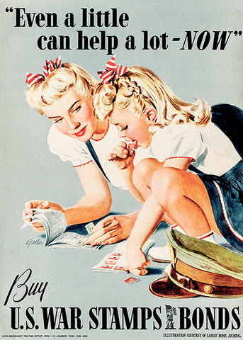 Little Help A Lot - War Stamps Bonds - 1942 - World War II - Propaganda Poster