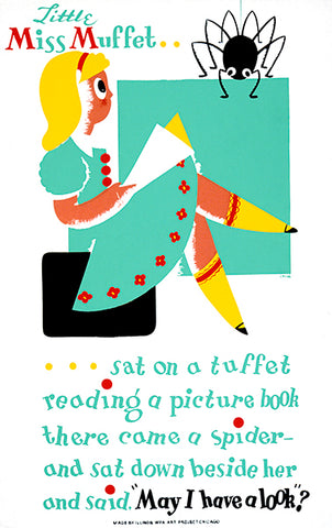 Little Miss Muffet - Reading A Book - 1940 - WPA Poster