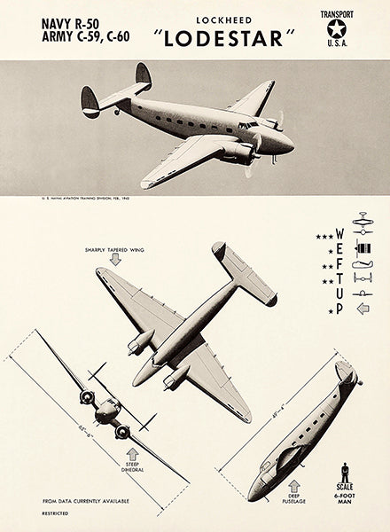 Lockheed Lodestar - R-50 - C-59 - C-60 - 1943 - World War 2 - Aircraft Recognition Poster