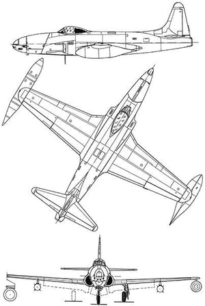 Lockheed P-80C Shooting Star - Blueprint Magnet