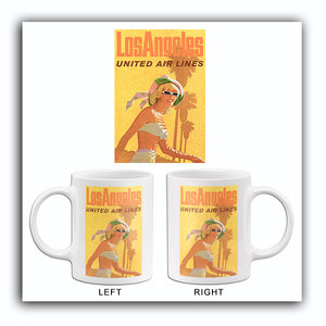 Los Angeles - United Air Lines - 1960's - Travel Poster Mug