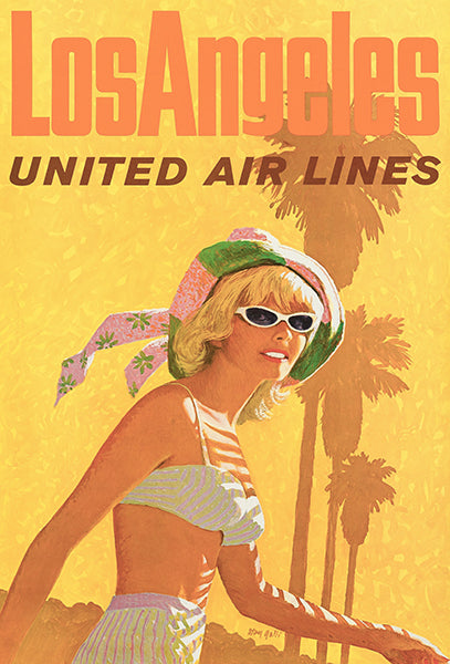Los Angeles - United Air Lines - 1960's - Travel Poster