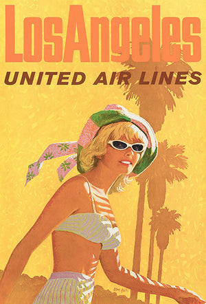 Los Angeles - United Air Lines - 1960's - Travel Poster Magnet
