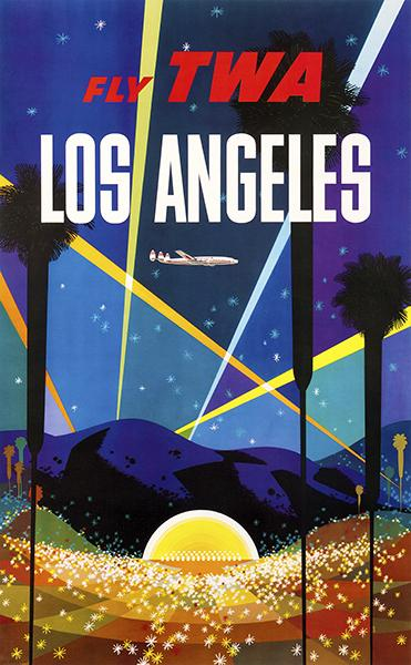 Los Angeles California - Fly TWA - 1950's - Travel Poster Magnet