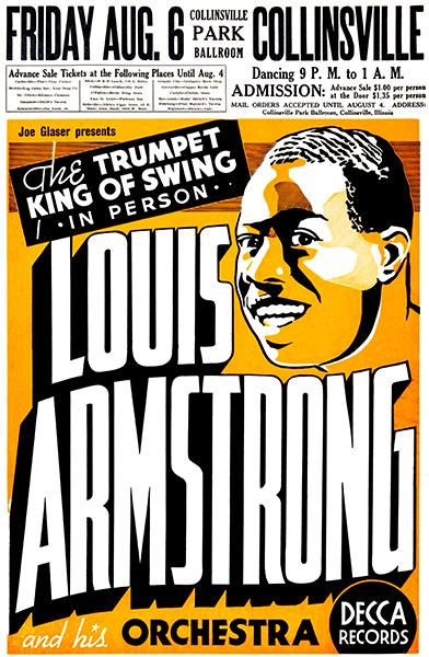 Louis Armstrong - Collinsville Park Ballroom - 1937 - Concert Poster Magnet