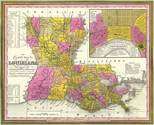 Louisiana - 1888 - Map Poster