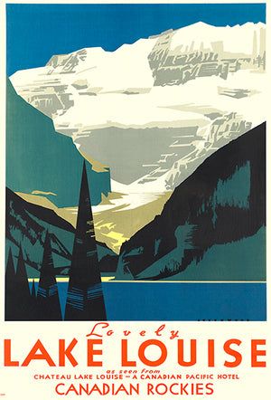 Lovely Lake Louise - Canadian Rockies - 1930's - Travel Poster Magnet