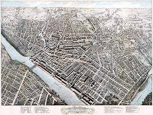 Lowell, Massachusetts - 1876 - Aerial Bird's Eye View Map Poster