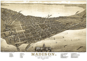 Madison, Dane County, Wisconsin - 1885 - Aerial Bird's Eye View Map Poster