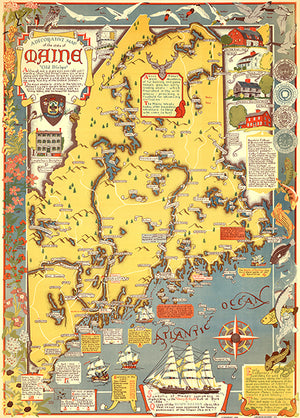 Maine - Old Dirigo - 1938 - Pictorial Map Poster