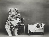 Making Baby's Clothes - Dog Puppy Sewing Machine - 1914 - Photo Magnet