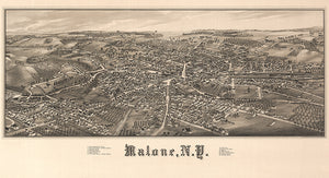 Malone, New York - 1886 -  Aerial Bird's Eye View Map Poster