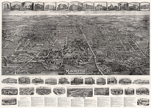 Manchester, Connecticut - 1914 - Aerial Bird's Eye View Map Poster