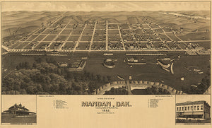 Mandan, North Dakota - 1883 - Aerial Bird's Eye View Map Poster