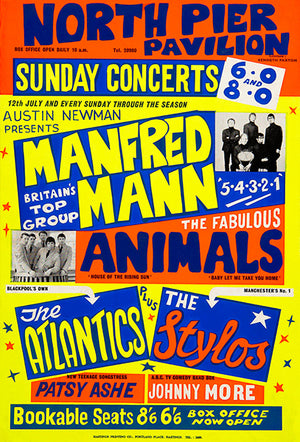 Manfred Mann - The Animals - 1964 - Concert Poster