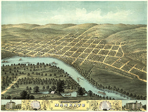 Mankato, Minnesota - 1870 - Aerial Bird's Eye View Map