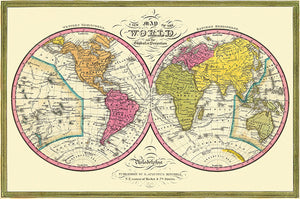 Map Of The World on the Globular Projection - 1846 -  Map Poster