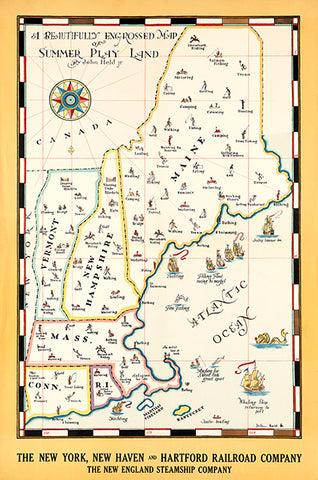 Map Of Summer Play Land - Vermont New Hampshire Maine - 1930's - Travel Poster Poster