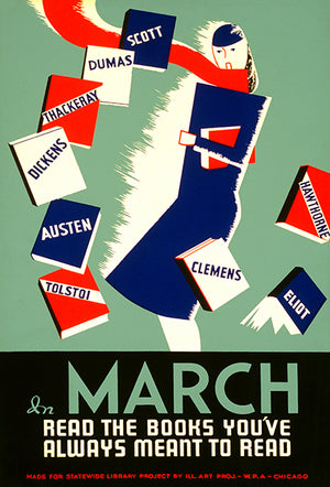 March Read The Books You've Always Meant To Read - 1936 - WPA Magnet