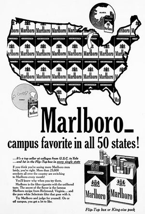 Marlboro Cigarette - Campus Favorite - 1961 - Advertising Poster