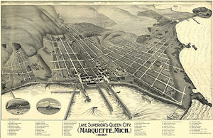 Marquette, Michigan - 1897 - Aerial Bird's Eye View Map Poster