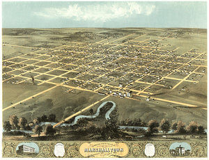 Marshalltown, Iowa - 1868 - Aerial Bird's Eye View Map Poster