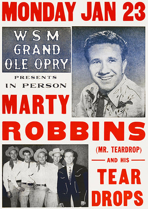 Marty Robbins - 1956 - Grand Ole Opry - Concert Poster