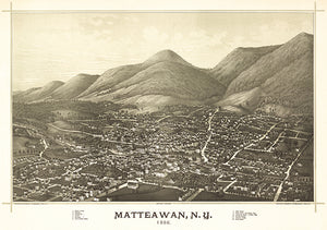 Matteawan, New York - 1886 - Aerial Bird's Eye View Map Poster