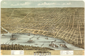 Memphis, Tennessee - 1870 - Aerial Bird's Eye View Map Poster