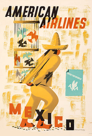 Mexico - American Airlines - 1950 - Travel Poster Magnet