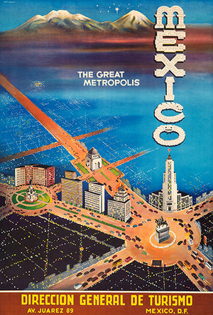 Mexico - The Great Metropolis - 1948 - Travel Poster Magnet