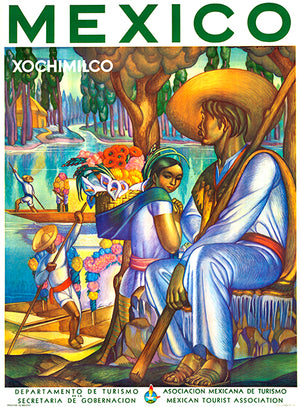 Mexico - Xochimilco - 1940's - Travel Poster Magnet