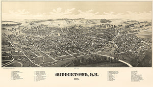 Middletown, New York - 1887 -  Aerial Bird's Eye View Map Poster