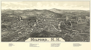 Milford, New Hampshire - 1886 - Aerial Bird's Eye View Map Poster