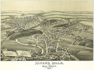 Miners Mills, Mill Creek, Pennsylvania - 1892 - Aerial Bird's Eye View Map Poster