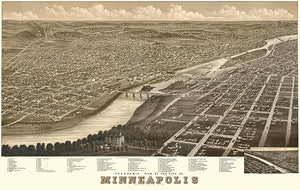 Minneapolis, Minnesota - 1879 - Aerial Bird's Eye View Map Poster